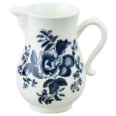 Royal Worcester Blue Sprays Cream Pitcher With Face Spout Floral Motif Bone China England