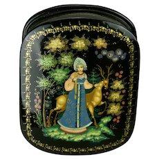 Russian Palekh Papier-Mâché Lacquer Box Princess Deer Motif Hand Painted