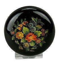 Russian Palekh Papier-Mâché Lacquer Round Box Floral Motif Hand Painted