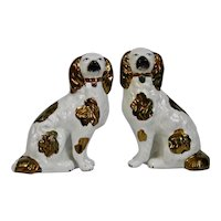 Staffordshire Pottery Pair Dogs Copper Luster
