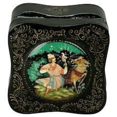 Russian Palekh Papier-Mâché Lacquer Box Fairytale Motif Hand Painted Hinged Domed Lid