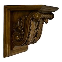 Hand Carved Mahogany Corbel Wall Shelf Bracket Acanthus Leaf Motif Signed Di Lorenzo