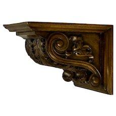 Hand Carved Mahogany Corbel Wall Shelf Bracket Acanthus Leaf Motif Signed Di Lorenzo