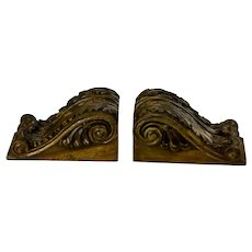 Pair Of Small Hand Carved Mahogany Corbel Wall Shelf Brackets Acanthus Leaf Motif Signed Di Lorenzo