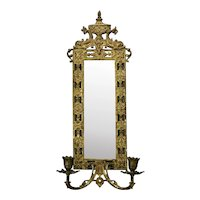 Single Bronze Wall Sconce Beveled Mirrored Back Dolphin Eastlake Style Two Candle c.1890 Bradley & Hubbard
