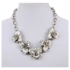 Orchid Blossom Necklace Sterling Silver 20 Inch Length Adjustable