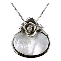 Substantial Sterling Silver MOP Mother Of Pearl Pendant With Floral Motif