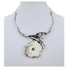 Statement Necklace Hand Carved MOP Shell Flower Sterling Silver Floral Motif 17.5 Inches Long.