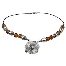 Sterling Silver Honey Amber Beaded Necklace Floral Pendant Motif 18 Inches length