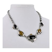 Tiger Eye Black Onyx Sterling Silver Drop Pendant Necklace Five Medallions Thailand 17 Inches