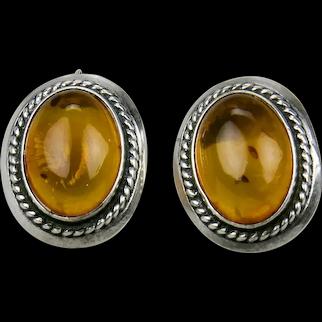 Honey Amber Pierced Earrings Oval Cabochon Stones Sterling Silver Settings