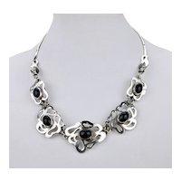 Modernist Bib Necklace Floral Form Motif Sterling Silver With Cabochon Black Onyx