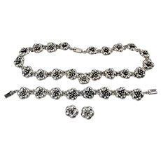 Floral Blossom Necklace Bracelet Earrings Set Mexico Signed JRI Sterling Silver .925