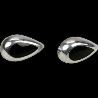 Modernist Pear Shaped Black Onyx Sterling Silver Pierced Earrings Post Style