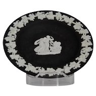 Wedgwood Jasper-ware Black Dish, with white applied moulded details