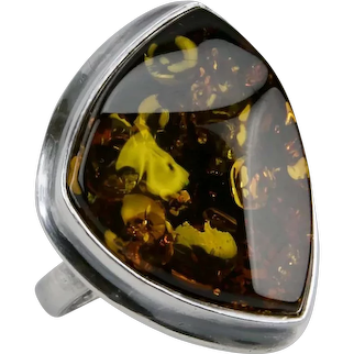 Cognac Honey Amber Ring Large Cabochon Jewel Sterling Silver Ring Size 8.75