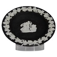 Wedgwood Jasper-ware Black Dish, white applied moulded details