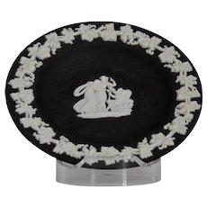 Wedgwood Jasper-ware Black Dish, white applied moulded details