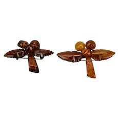 Pair Amber Fruit Berry Pins Honey Cognac Colors Copper Wire Pins