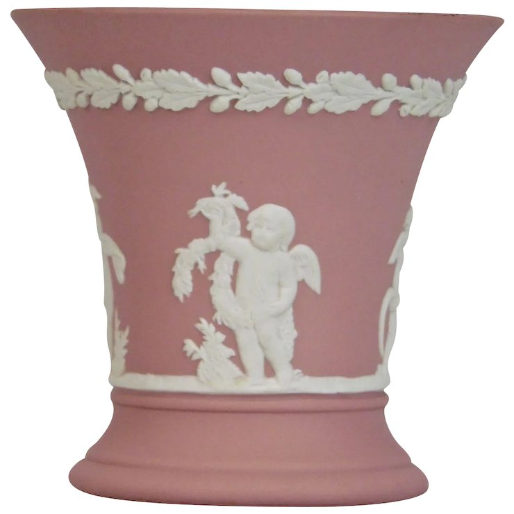 Wedgwood Jasper Ware Pink Small Vase White Applied Moulded Details