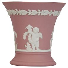 Wedgwood Jasper-ware Pink Small Vase, white applied moulded details