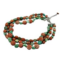 Turquoise And Carved Coral Three Strand Necklace 19 Inches Long