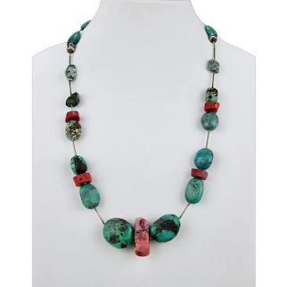 Turquoise Coral Beaded Necklace Bracelet Set Can Be Combined To 26.50 Inches Long