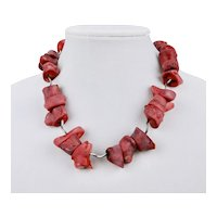 Dyed Coral Statement Necklace Large Beads Tubular Sterling Silver 19 Inches Long