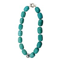 Dyed Turquoise Beaded Statement Necklace Sterling Silver Bead And Clasp 19 Inches Long