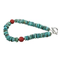 Dyed Turquoise Beaded Statement Necklace Sterling Silver Clasp 21 Inches Long