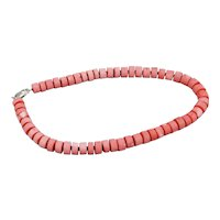 Natural Salmon Colored Coral Beaded Necklace Unpolished Cylindrical Beads Sterling Spacer Beads And Clasp 20 Inches Long