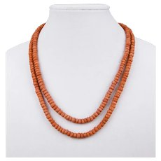 Salmon Colored Coral Beaded Double Strand Necklace 22 Inches Long