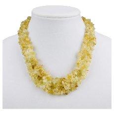 Citrine Raw Stone Bib Multi Strand Statement Necklace Gold Filled Toggle Clasp 18 Inches