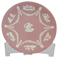 Wedgwood Jasper-ware Pink Plate, with white applied moulded details.