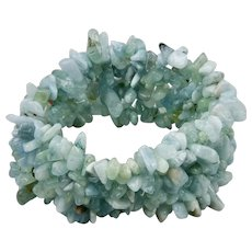 Blue Topaz Natural Raw Small Beads Bracelet Expandable 7.50 to 9 Inches