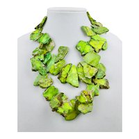 Vivid Green Bib Necklace Statement Style Stone Slab Cut Beads 18 - 20 Inches Long