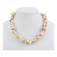 Shell Bead Necklace Chunky Statement Style 19 Inch Length
