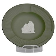Wedgwood Jasper-ware Sage Green Ashtray with simple moulded applied white detail