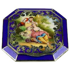 Sterling Silver Austrian Guilloche Cobalt Blue Enamel Compact With Romantic Pastoral Scene