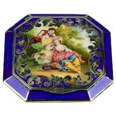 Sterling Silver Austrian Guilloche Cobalt Blue Enamel Compact With Romantic Pastoral Scene
