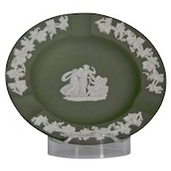 Wedgwood Jasper-ware Sage Green Ashtray with moulded applied white details