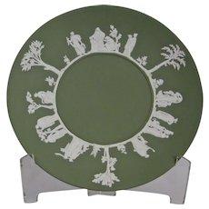 Wedgwood Jasper-ware Sage Green Plate moulded applied white details