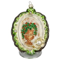 Christmas Ornament Jeweled Framed Flower Urn Hand Colored Details