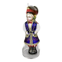 Christmas Ornament Figural Form Traditional Costume Feather Plumed Hat Hand Colored Details