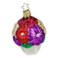 Glass Christmas Ornament Flowers In Basket Inge - Glas Germany