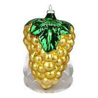 Christmas Ornament Golden Grapes Bunch Green Leaves Silvered Glass Interior