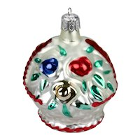 Christmas Ornament Flower Basket Silver Red Blue Green Gold  Hand Colored Details