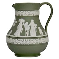 Wedgwood Jasper-ware Sage Green Pitcher moulded applied white details