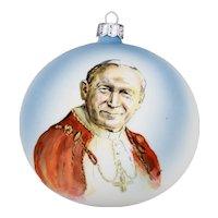 Large Christmas Ornament Ball Former Pope Saint John Paul II Hand Painted Vibrant Colors