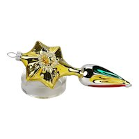 Christmas Ornament Gold Star Drop Reflector Silvered Glass Form